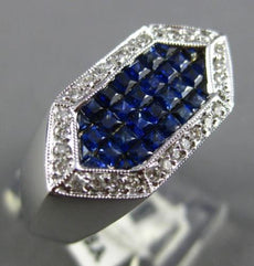 ESTATE 1.40CT ROUND DIAMOND & AAA SAPPHIRE 18KT WHITE GOLD 3D HEXAGON MENS RING