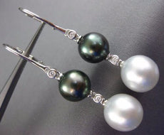 LARGE DIAMOND & AAA SOUTH SEA TAHITIAN PEARL 18KT WHITE GOLD 3D HANGING EARRINGS