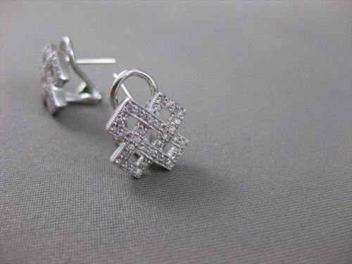 ESTATE DIAMOND OPEN LATTICE 18KT WHITE GOLD OMEG CLIP EARRINGS #17527