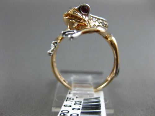 LARGE .78CT FANCY COLOR DIAMOND & AAA RUBY 18K WHITE & ROSE GOLD HAPPY FROG RING
