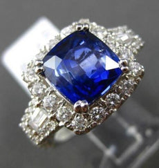 ESTATE LARGE 5.21CT DIAMOND & SAPPHIRE 18KT WHITE GOLD FILIGREE ENGAGEMENT RING