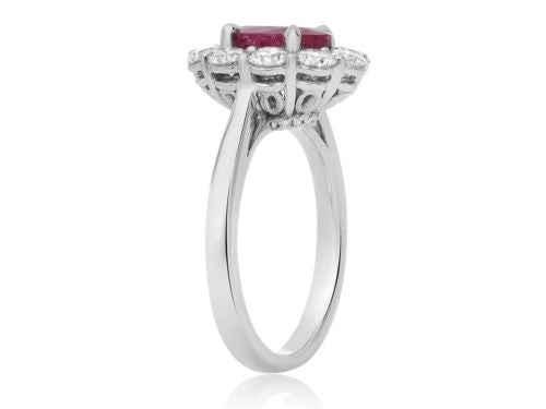LARGE GIA CERTIFIED 3.44CT DIAMOND & AAA RUBY PLATINUM OVAL HALO ENGAGEMENT RING