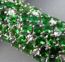 ESTATE MASSIVE 40.02CT DIAMOND & TSAVORITE 18K WHITE GOLD 3D GRADUATING BRACELET