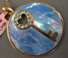 LARGE .10CT DIAMOND & AAA BLUE MOTHER OF PEARL 14KT ROSE GOLD 3D HEART PENDANT