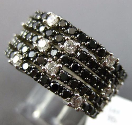 WIDE 3.75CT WHITE & BLACK DIAMOND 14KT WHITE GOLD 3D MULTI ROW ANNIVERSARY RING