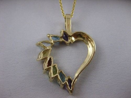 ESTATE 1.20CTW MARQUISE MULTI GEMS HEART JOURNEY 14KT YELLOW GOLD PENDANT #21386