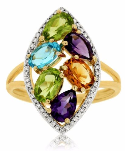 2.90CT DIAMOND & AAA MULTI COLOR GEM 14KT YELLOW GOLD 3D MARQUISE SHAPE FUN RING