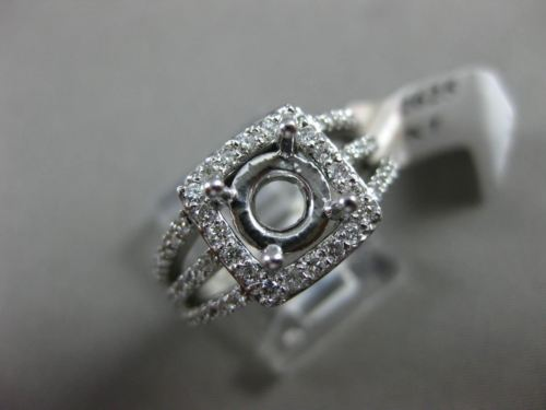 ESTATE .80CT DIAMOND 14K WHITE GOLD HALO SQUARE SEMI MOUNT ENGAGEMENT RING #2625