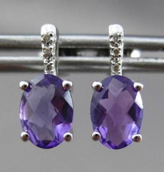 ESTATE 2.07CT DIAMOND & EXTRA FACET AMETHYST 14KT W GOLD OVAL HANGING EARRINGS