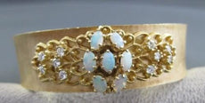 ANTIQUE WIDE 1.65CT AAA OPAL & DIAMOND 14KT YELLOW GOLD BANGLE STUNNIG!! #1803