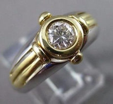 ESTATE .33CT DIAMOND 14KT TWO TONE GOLD SOLITAIRE BEZEL ENGAGEMENT RING #22426