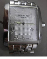 RAYMOND WEIL GENEVE 9975 STANLESS STEEL LARGE SQUARE WATCH & BOX AMAZING #23956