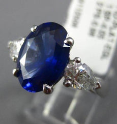 ESTATE LARGE EGL 5.03CT DIAMOND & AAA SAPPHIRE PLATINUM 3 STONE ENGAGEMENT RING