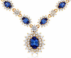 LARGE 5.25CT DIAMOND & AAA TANZANITE 14K YELLOW GOLD FLOWER DOUBLE HALO NECKLACE