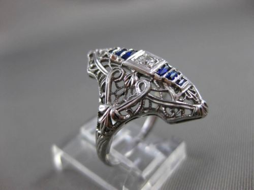 ANTIQUE .21CT OLD MINE DIAMOND & AAA SAPPHIRE 18K WHITE GOLD FILIGREE RING 19859