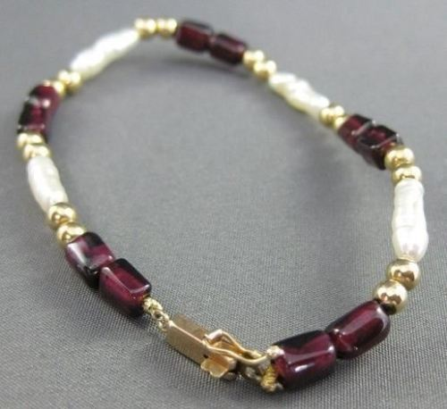 ANTIQUE 14KT YELLOW GOLD AAA GARNET & PEARLS BRACELET 7.25 INCHES LONG!! #21984