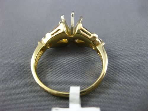 .64CT ROUND & BAGUETTE DIAMOND 14KT YELLOW GOLD SEMI MOUNT ENGAGEMENT RING 1846