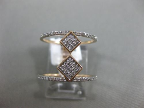 ESTATE WIDE .32CT DIAMOND 14K ROSE GOLD 3D DOUBLE ROW GRADUATING SQUARE FUN RING