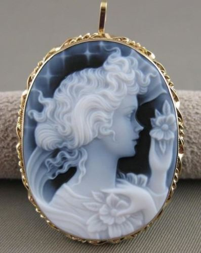 LARGE ESTATE 14KT YELLOW GOLD BLUE AGATE GIRL CAMEO FILIGREE PIN PENDANT #20769