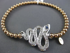 ESTATE LARGE 1.13CT DIAMOND & AAA SAPPHIRE 14KT WHITE & ROSE GOLD SNAKE BRACELET