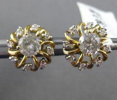 ESTATE 1.02CT DIAMOND 14KT TWO TONE GOLD SOLITAIRE FLOWER STUD EARRINGS & JACKET