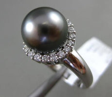ESTATE LARGE .37CT DIAMOND 14KT WHITE GOLD TAHITIAN PEARL SHARED PRONG HALO RING