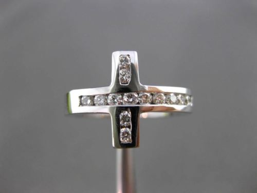 ESTATE WIDE .39CT DIAMOND 14KT WHITE GOLD 3D CHANNEL CROSS RING 12mm #17804
