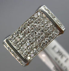 ESTATE WIDE 1.36CT DIAMOND 18KT WHITE GOLD 3D SQUARE PAVE ANNIVERSARY RING #478