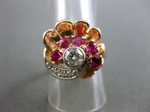 ANTIQUE WIDE .70CT DIAMOND & AAA RUBY 14KT WHITE & ROSE GOLD FLOWER RING #1663