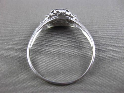 ANTIQUE .08CT OLD MINE DIAMOND 18KT WHITE GOLD FILIGREE ENGAGEMENT RING #23897