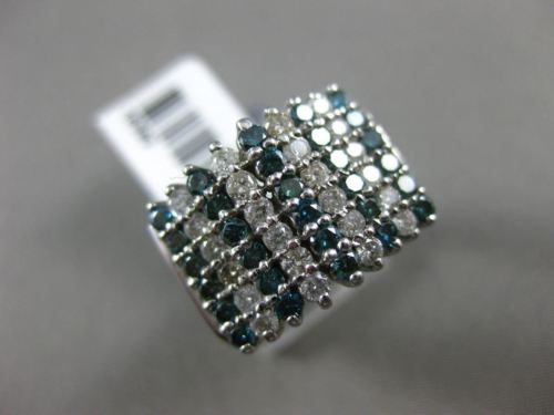 WIDE 1.45CT WHITE & BLUE DIAMOND 14KT WHITE GOLD 3D MULTI ROW ANNIVERSARY RING