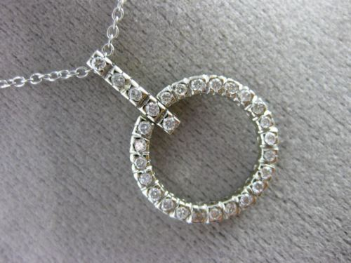 ESTATE WIDE .51CT DIAMOND 14KT WHITE GOLD CIRCLE OF LIFE FLOATING PENDANT CHAIN