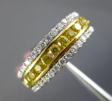 ESTATE .88CT WHITE & FANCY YELLOW DIAMOND 18K 2 TONE GOLD 3 ROW ANNIVERSARY RING