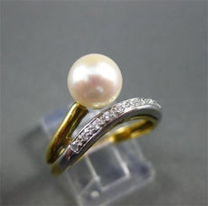 ESTATE WIDE .15CT DIAMOND 18KT WHITE & YELLOW GOLD AAA SOUTH SEA PEARL RING 1011