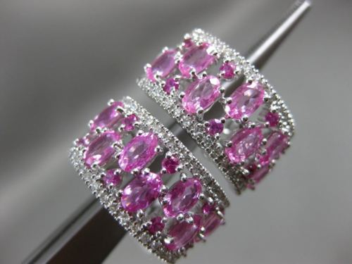 ESTATE WIDE 4.93CT DIAMOND & AAA PINK SAPPHIRE 14KT WHITE GOLD UMBRELLA EARRINGS