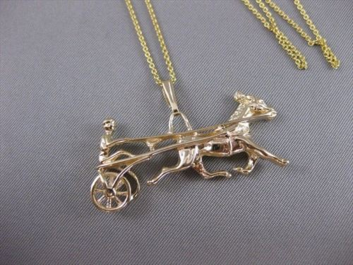 LARGE ANTIQUE FILIGREE HORSE & RIDER 14KT YELLOW GOLD 3D RACING PENDANT #19848