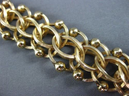 ANITQUE WIDE 14KT YELLOW GOLD 3D HANDCRAFTED LONG INTERTWINED BRACELET #22595