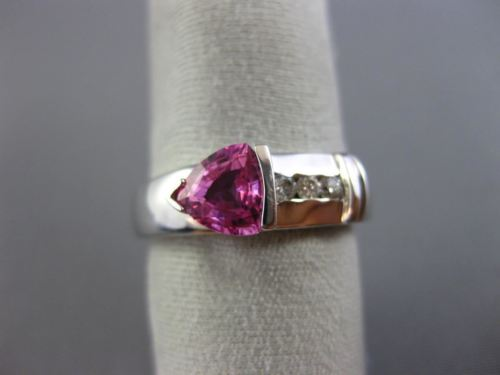1.12CT ROUND DIAMOND & AAA TRILLION PINK SAPPHIRE 14K WHITE GOLD SEMI BEZEL RING