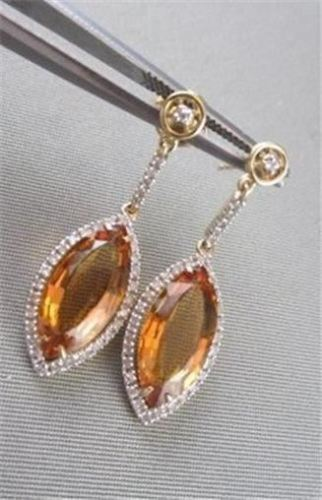 ESTATE 14KT MARQUISE 6.05CTW AAA CITRINE & DIAMOND WHITE & YELLOW GOLD EARRINGS