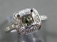 ESTATE .63CT DIAMOND 14KT WHITE GOLD 3D SEMI MOUNT HALO ENGAGEMENT RING 22374
