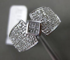 ESTATE WIDE .60CT DIAMOND 14KT WHITE GOLD 3D MULTI ROW INVISIBLE COCKTAIL RING