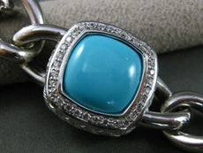 ESTATE WIDE & LONG 46.0CT DIAMOND & TURQUOISE 14KT WHITE GOLD FILIGREE BRACELET