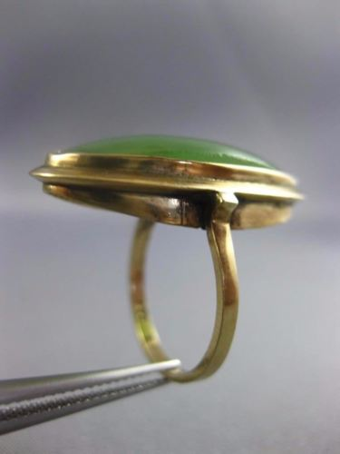 ANTIQUE LARGE AAA GREEN JADE 14KT YELLOW GOLD 3D CLASSIC OVAL BEZEL FUN RING