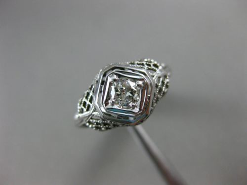 ANTIQUE .25CT OLD MINE DIAMOND PLATINUM SOLITAIRE FILIGREE ENGAGEMENT RING 2130