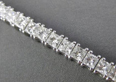 ESTATE WIDE 8.37CT DIAMOND 14KT WHITE GOLD CLASSIC PRINCESS CUT TENNIS BRACELET