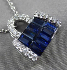 ANTIQUE LARGE 1.42CT DIAMOND & AAA SAPPHIRE 14KT WHITE GOLD PURSE PENDANT #315