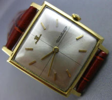 ANTIQUE LARGE JAEGER LECOULTRE 18KT YELLOW GOLD 3D SQUARE MENS WATCH #25844