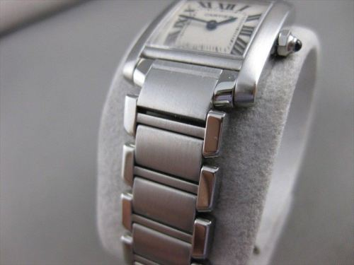 "CARTIER TANK FRANCAISE LADIES WATCH STAINLESS STEEL + ORIGINAL BOX 6.75"" #2685"