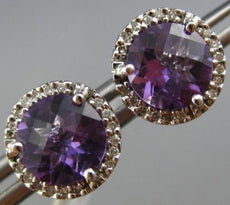 ESTATE 2.62CT DIAMOND & AAA AMETHYST 14KT WHITE GOLD ROUND HALO CLASSIC EARRINGS