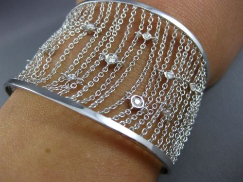 ESTATE WIDE .56CT DIAMOND 14K WHITE GOLD 3D FLEXIBLE BY THE YARD BANGLE BRACELET